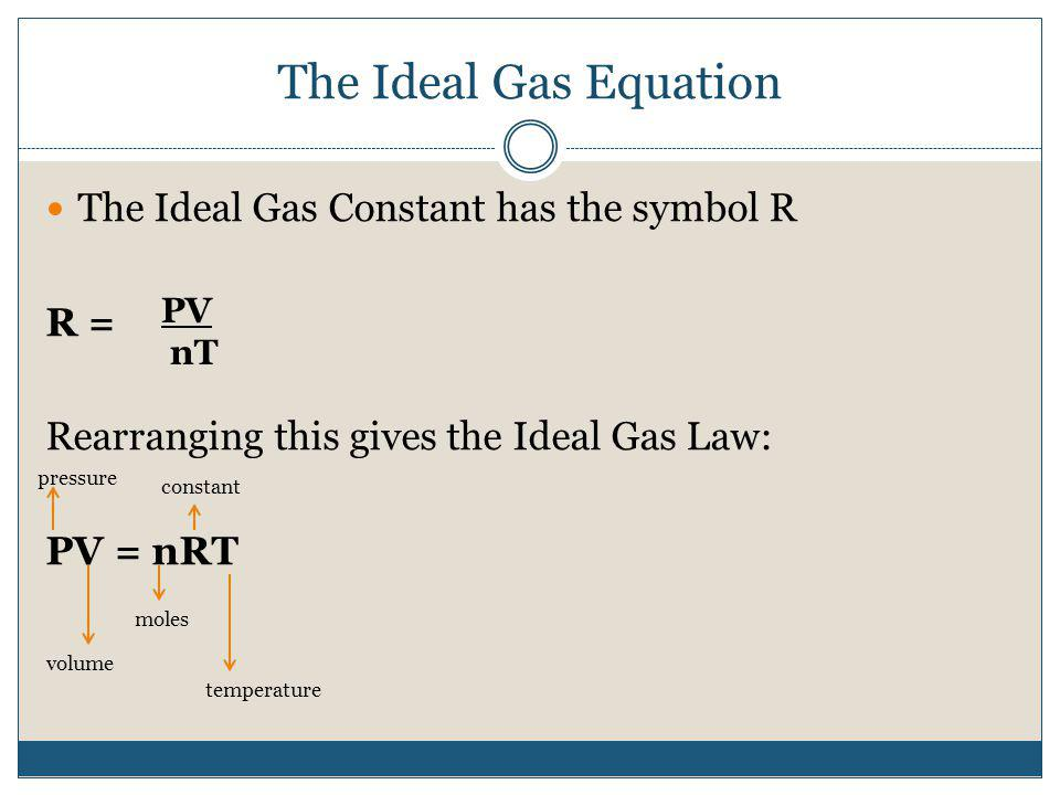 The Ideal Gas Equation The Ideal Gas Constant has the symbol R R = Rearranging this gives the Ideal Gas Law: PV = nRT PV nT pressure volume moles cons