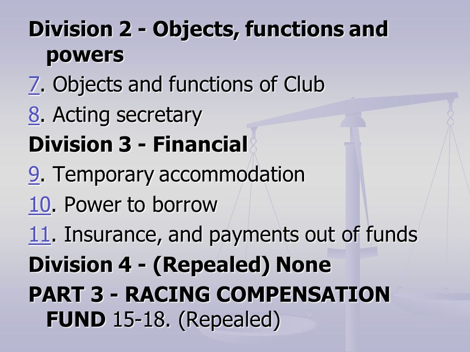 Division 2 - Objects, functions and powers 77. Objects and functions of Club 7 88.
