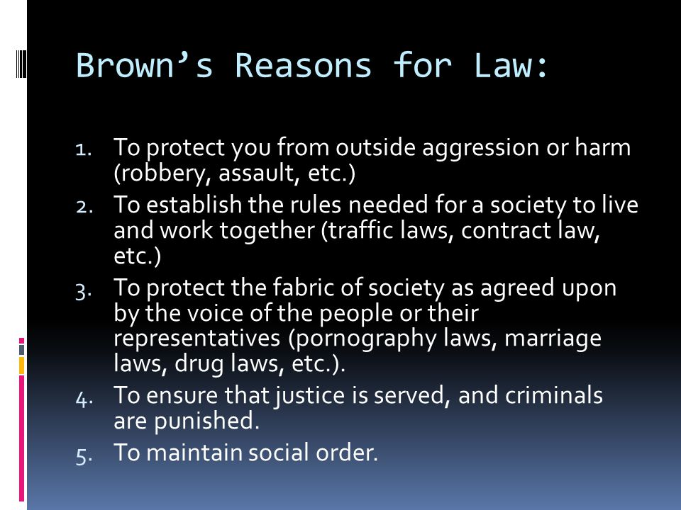 CLASS ACTIVITY How did our list of laws fit with these established functions of law.