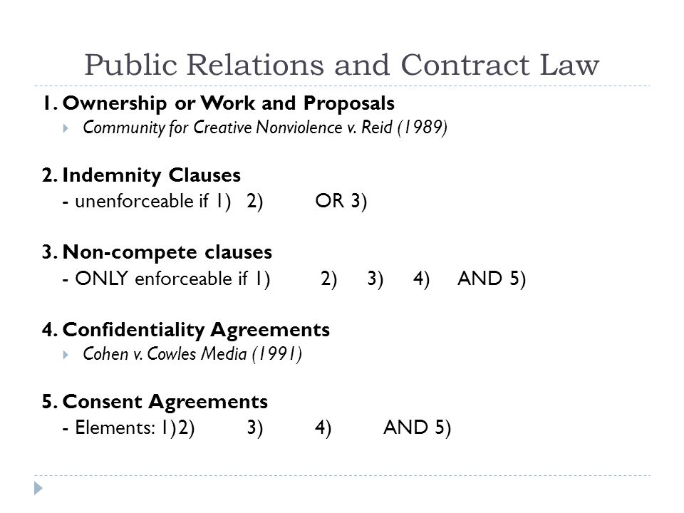 Public Relations and Contract Law 1.