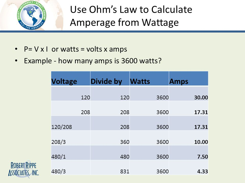 Use Ohms Law to Calculate Amperage from Wattage P= V x I or watts = volts x amps Example - how many amps is 3600 watts.