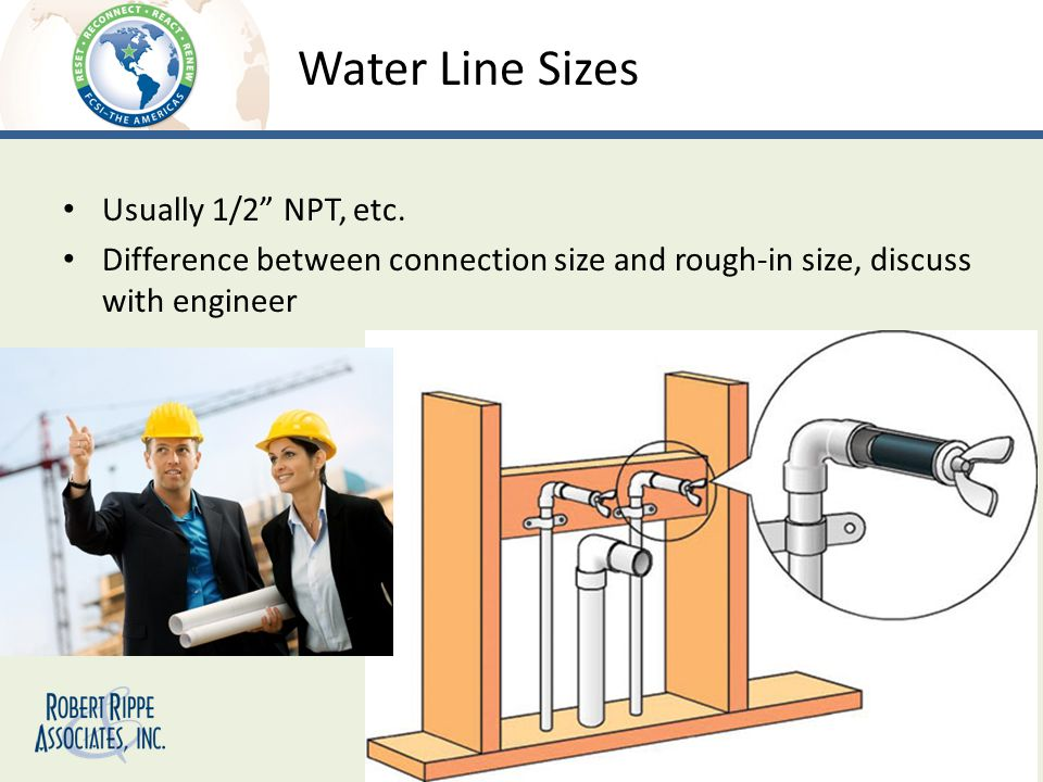 Water Line Sizes Usually 1/2 NPT, etc.