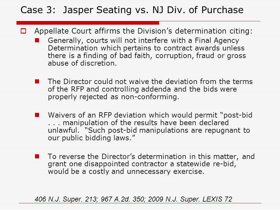 Case 3: Jasper Seating vs. NJ Div.