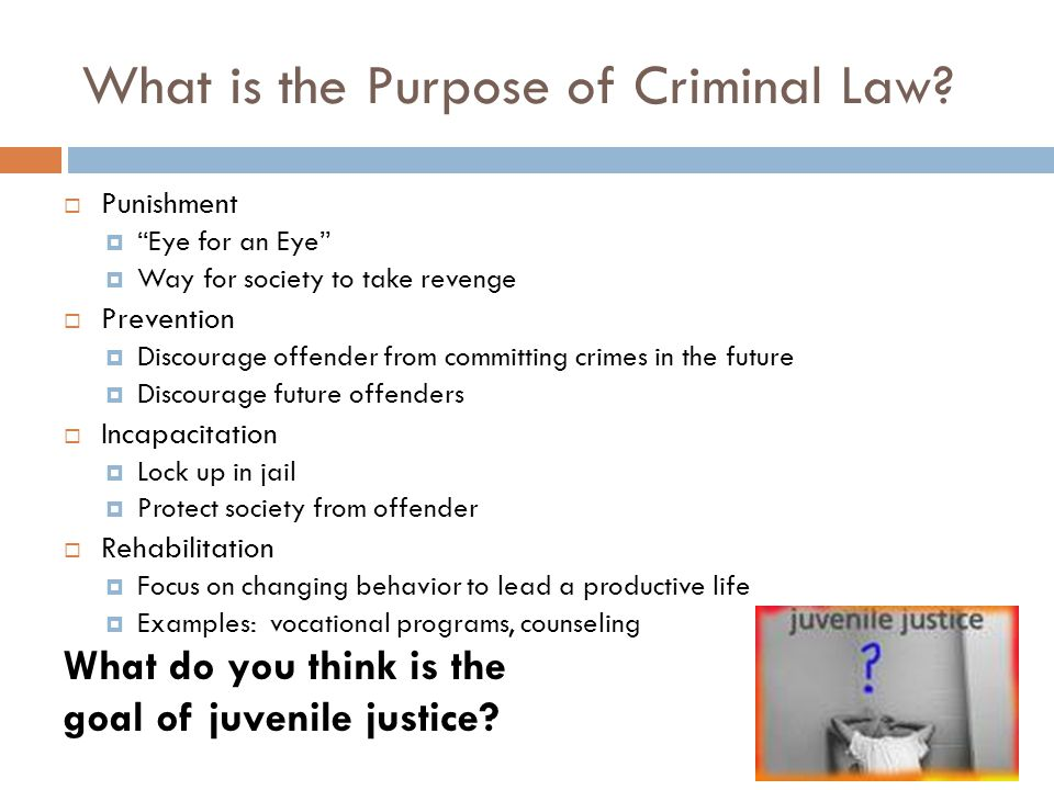 What is the Purpose of Criminal Law? Punishment Eye for an Eye Way for society to take revenge Prevention Discourage offender from committing crimes i