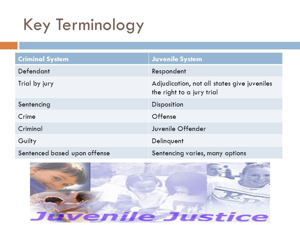 Key Terminology Criminal SystemJuvenile System DefendantRespondent Trial by juryAdjudication, not all states give juveniles the right to a jury trial