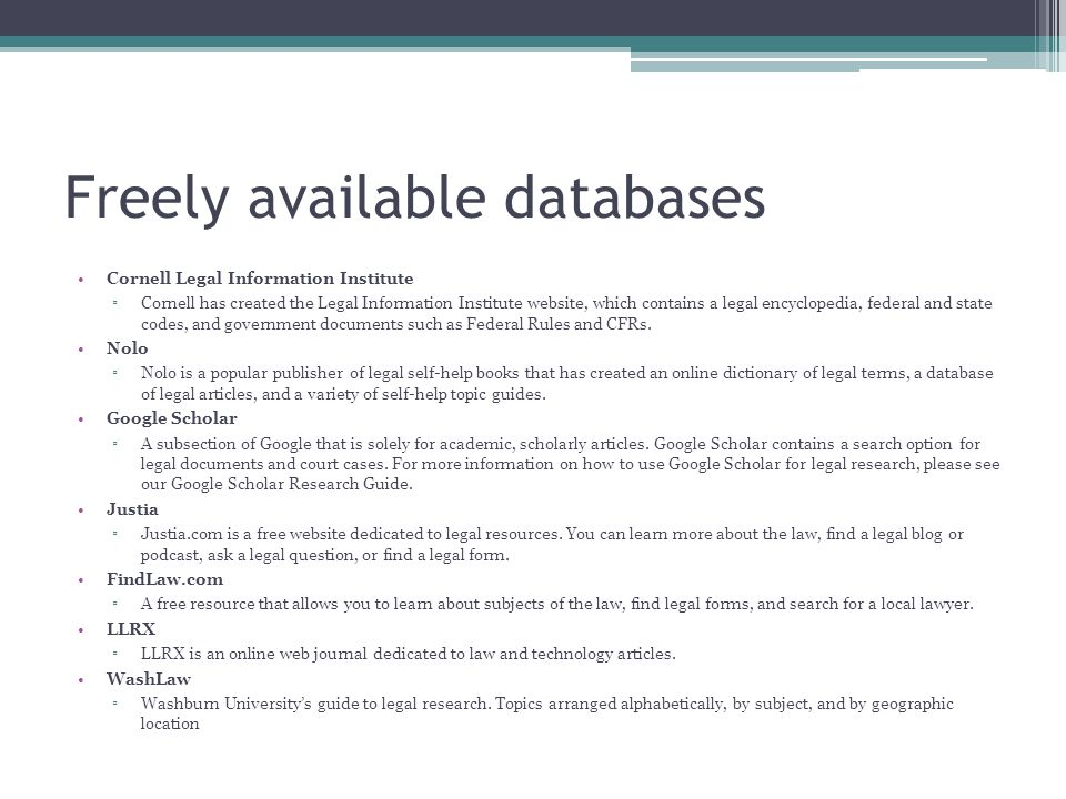 WYLD databases HeinOnline A database of law journal and law review articles.