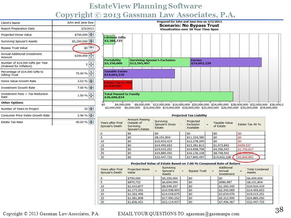 38 EstateView Planning Software Copyright © 2013 Gassman Law Associates, P.A.
