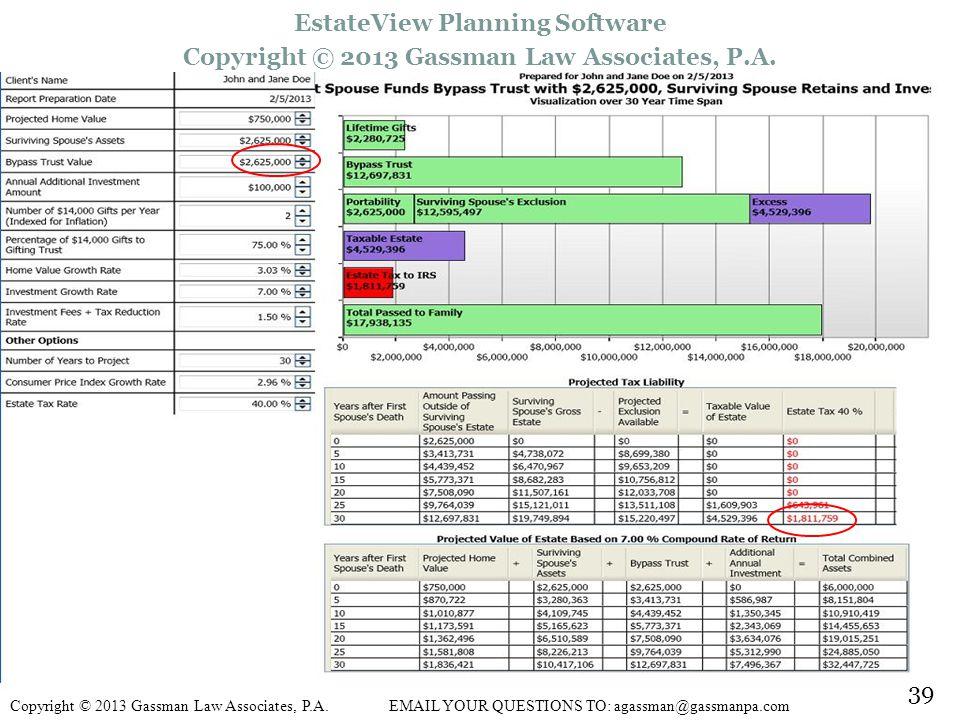 39 EstateView Planning Software Copyright © 2013 Gassman Law Associates, P.A.
