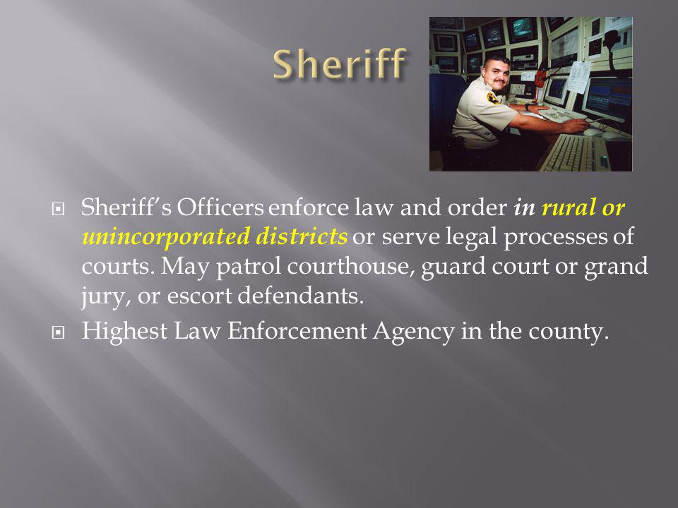 Sheriffs Officers enforce law and order in rural or unincorporated districts or serve legal processes of courts.