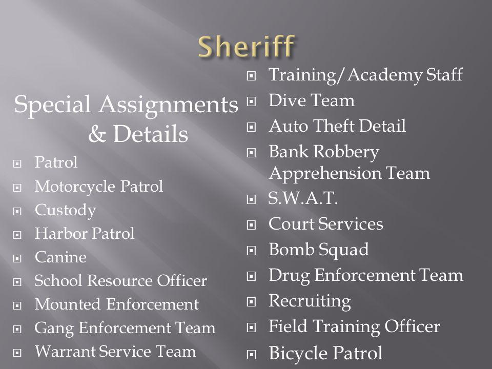 Special Assignments & Details Patrol Motorcycle Patrol Custody Harbor Patrol Canine School Resource Officer Mounted Enforcement Gang Enforcement Team Warrant Service Team Training/Academy Staff Dive Team Auto Theft Detail Bank Robbery Apprehension Team S.W.A.T.