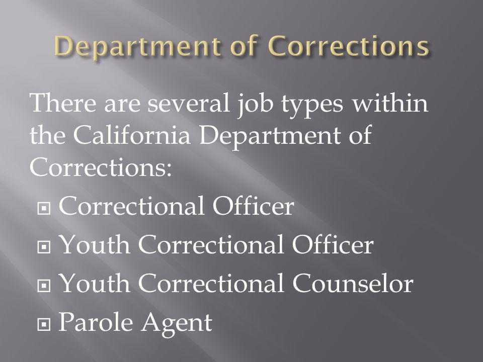 There are several job types within the California Department of Corrections: Correctional Officer Youth Correctional Officer Youth Correctional Counselor Parole Agent