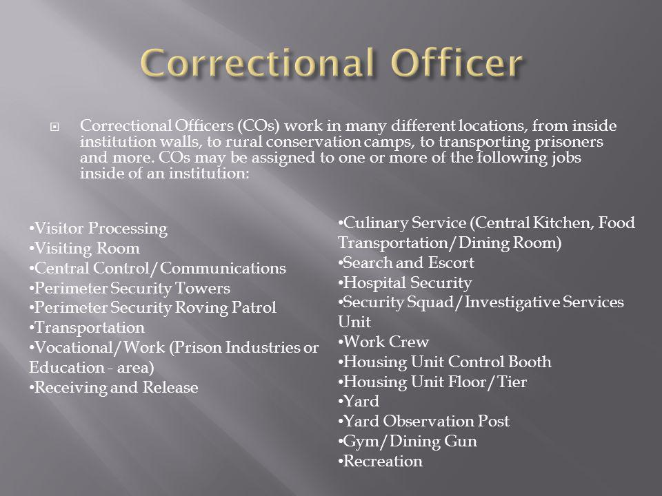Correctional Officers (COs) work in many different locations, from inside institution walls, to rural conservation camps, to transporting prisoners and more.
