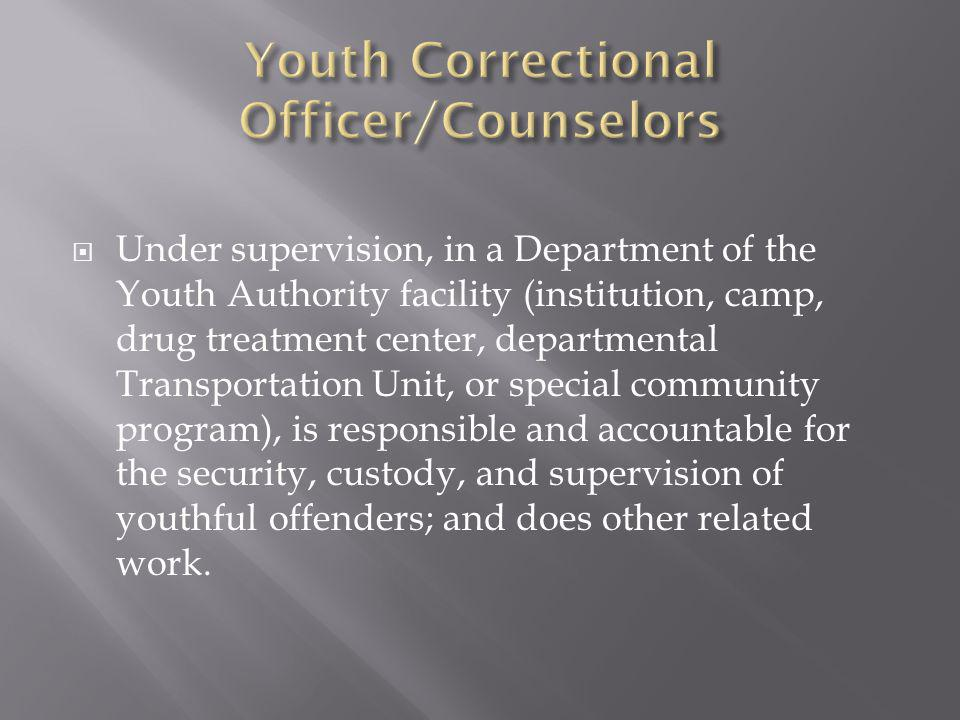 Under supervision, in a Department of the Youth Authority facility (institution, camp, drug treatment center, departmental Transportation Unit, or special community program), is responsible and accountable for the security, custody, and supervision of youthful offenders; and does other related work.