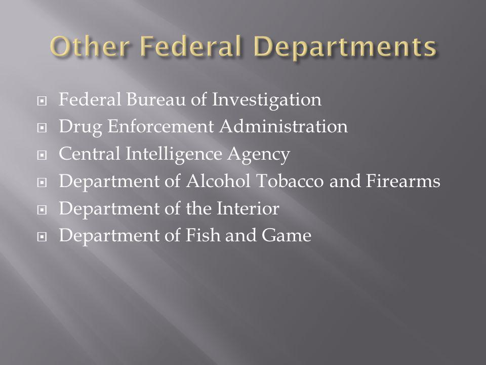Federal Bureau of Investigation Drug Enforcement Administration Central Intelligence Agency Department of Alcohol Tobacco and Firearms Department of the Interior Department of Fish and Game