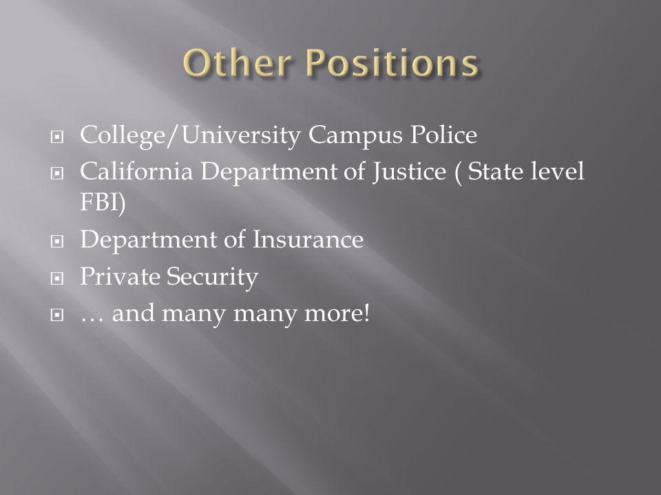 College/University Campus Police California Department of Justice ( State level FBI) Department of Insurance Private Security … and many many more!