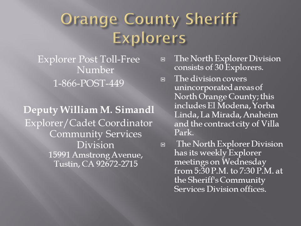 Explorer Post Toll-Free Number 1-866-POST-449 Deputy William M.