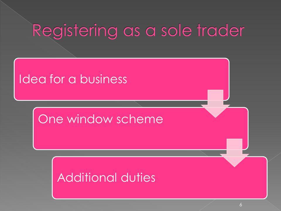 Idea for a business One window scheme Additional duties 6