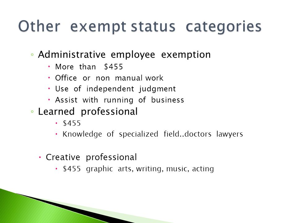Title 40 Defines employer/employee wage Law Non exempt paid twice monthly Exempt paid once monthly Administrative fines $500.00 if pay is 11 days late Must pay terminated ee by next pay period Unless bona fide disagreement exists Liquidated damaged 2% daily of unpaid wages If death of ee money is due to spouse and children