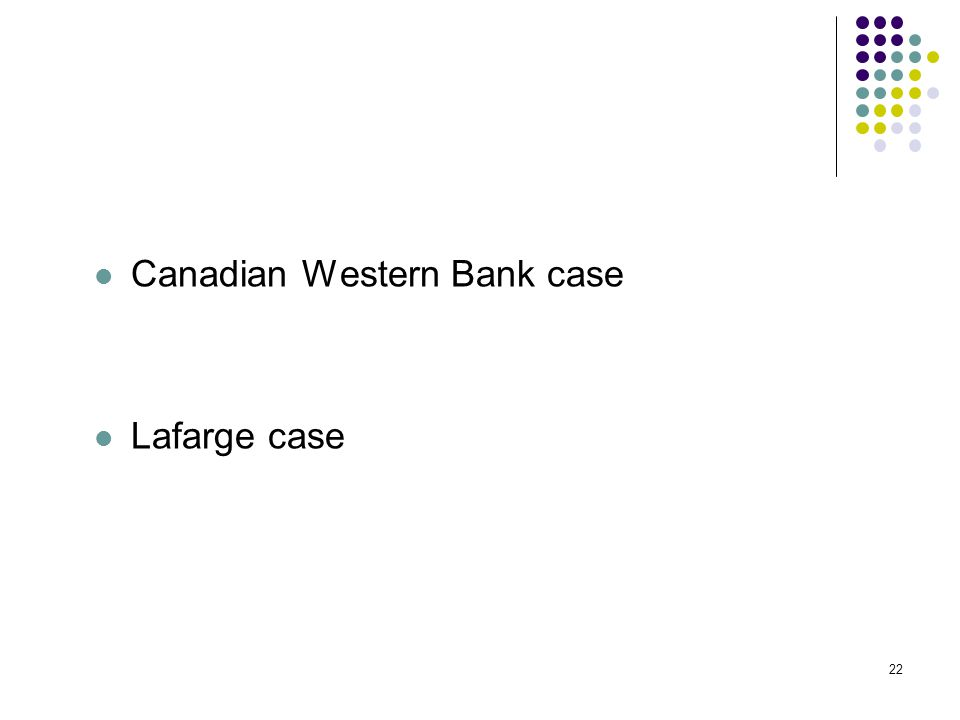 22 Canadian Western Bank case Lafarge case