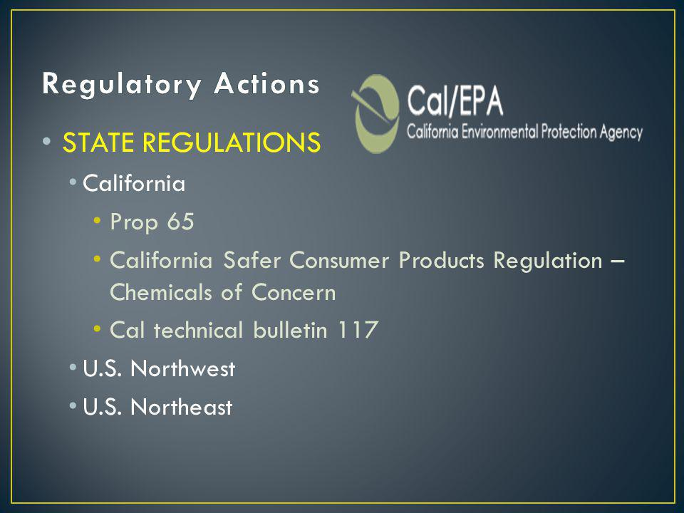 STATE REGULATIONS California Prop 65 California Safer Consumer Products Regulation – Chemicals of Concern Cal technical bulletin 117 U.S.