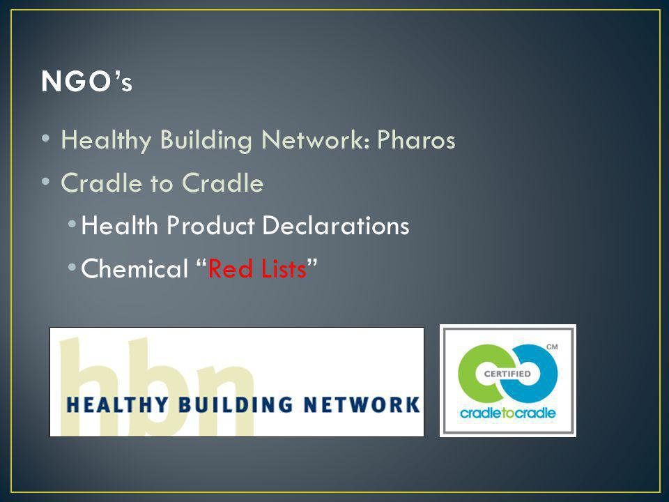 Healthy Building Network: Pharos Cradle to Cradle Health Product Declarations Chemical Red Lists