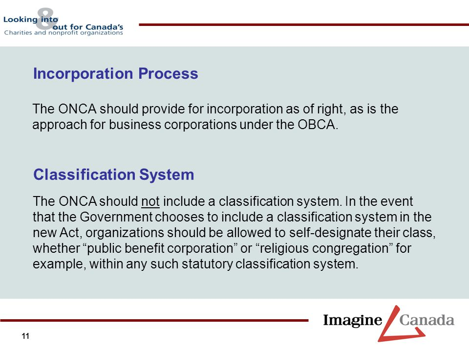 11 The ONCA should provide for incorporation as of right, as is the approach for business corporations under the OBCA. Incorporation Process Classific