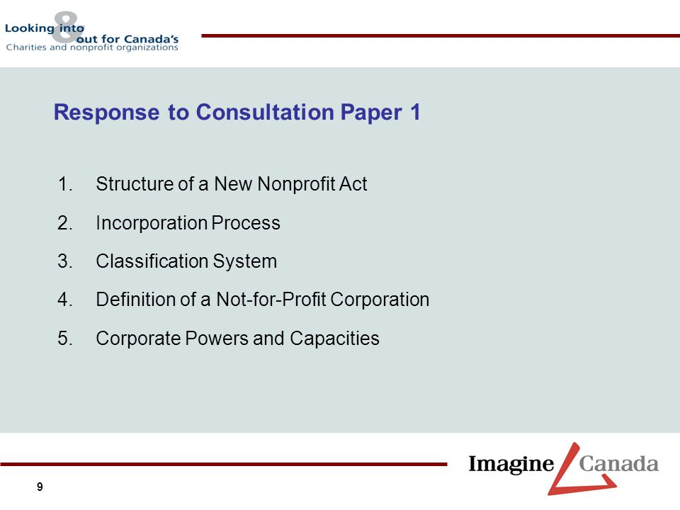 9 1.Structure of a New Nonprofit Act 2.Incorporation Process 3.Classification System 4.Definition of a Not-for-Profit Corporation 5.Corporate Powers a