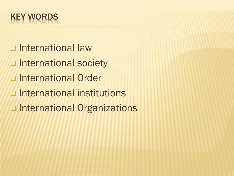 International law International society International Order International institutions International Organizations