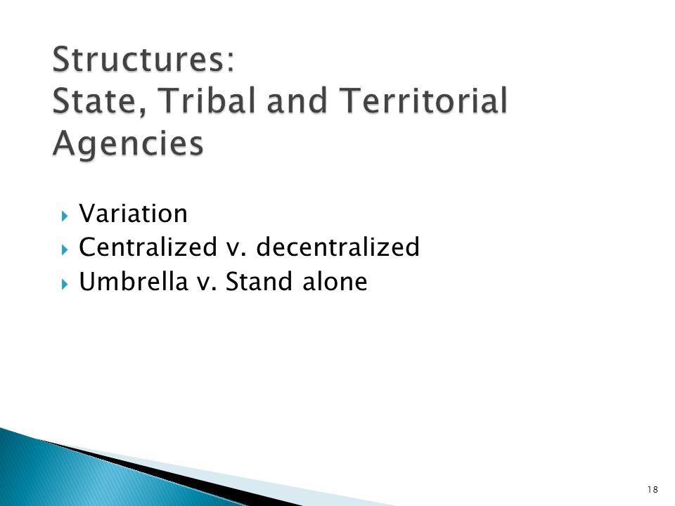 Variation Centralized v. decentralized Umbrella v. Stand alone 18