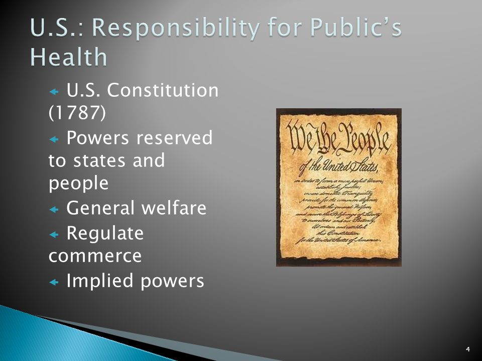 U.S. Constitution (1787) Powers reserved to states and people General welfare Regulate commerce Implied powers 4