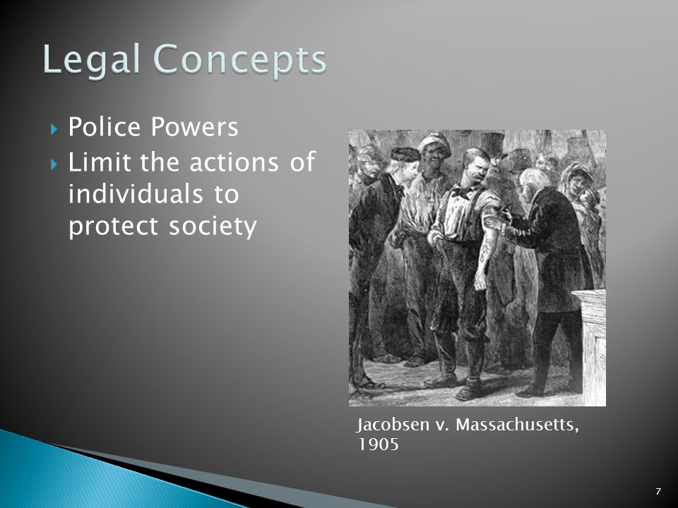 Police Powers Limit the actions of individuals to protect society 7 Jacobsen v. Massachusetts, 1905