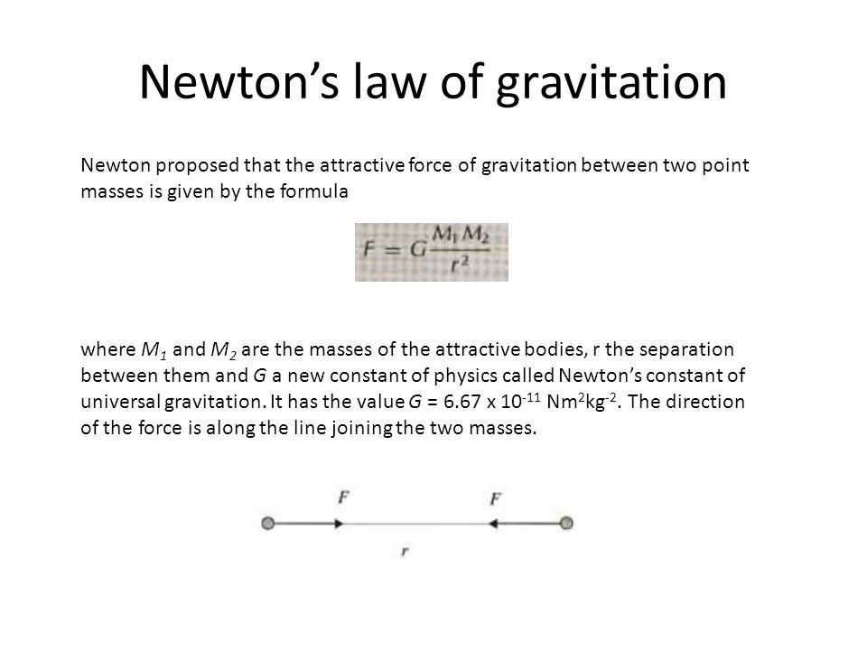 Newtons law of gravitation Newton proposed that the attractive force of gravitation between two point masses is given by the formula where M 1 and M 2