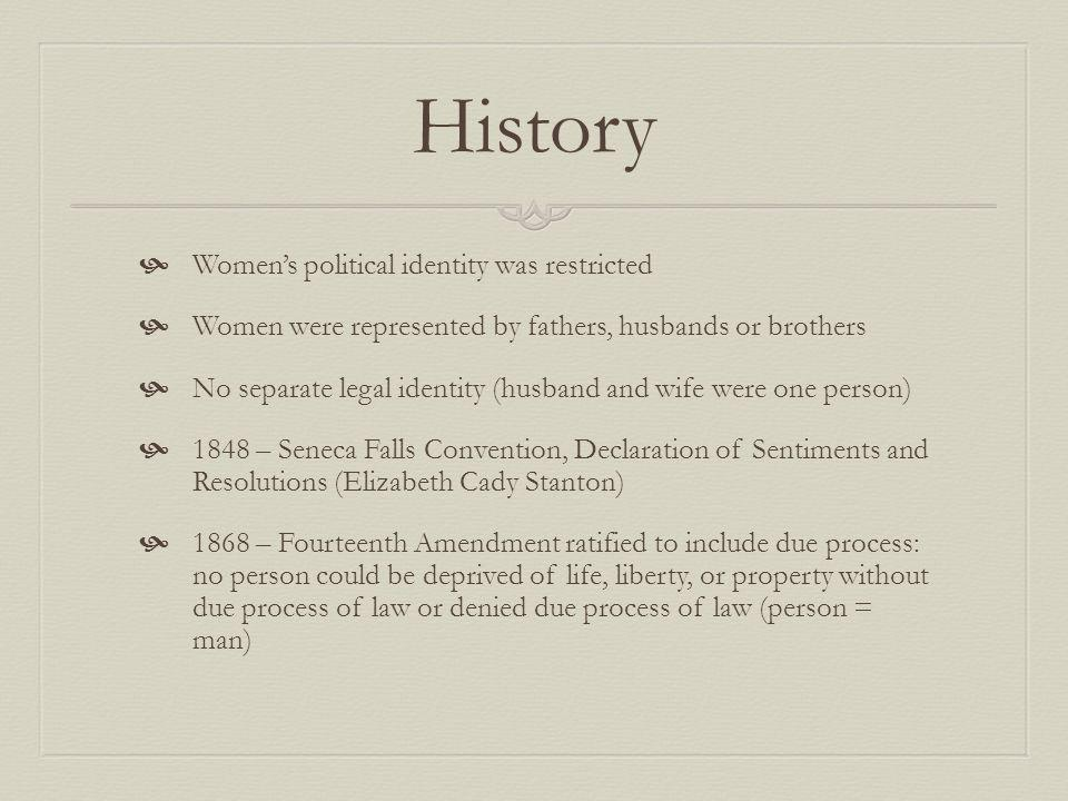 History Womens political identity was restricted Women were represented by fathers, husbands or brothers No separate legal identity (husband and wife