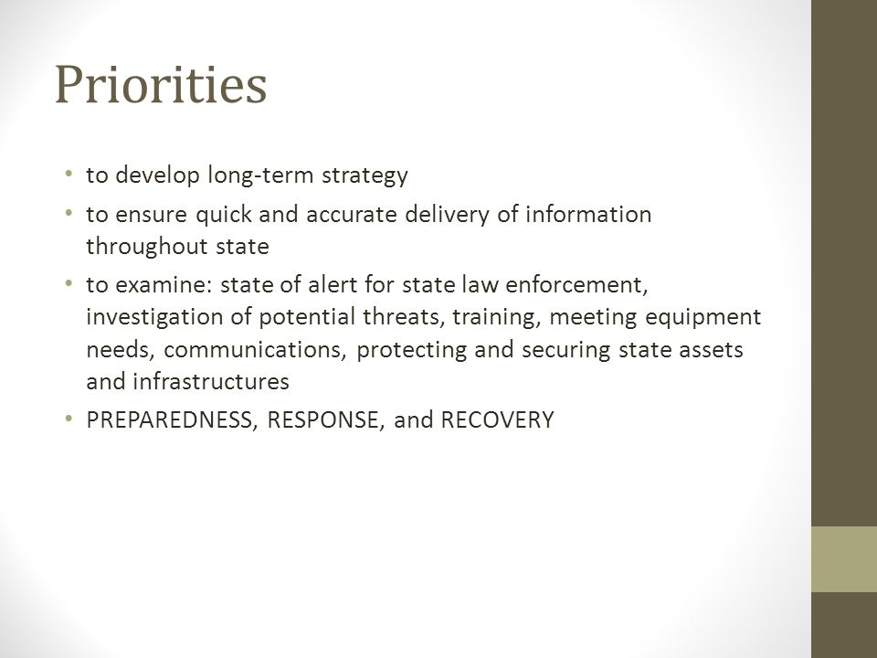 Priorities to develop long-term strategy to ensure quick and accurate delivery of information throughout state to examine: state of alert for state law enforcement, investigation of potential threats, training, meeting equipment needs, communications, protecting and securing state assets and infrastructures PREPAREDNESS, RESPONSE, and RECOVERY