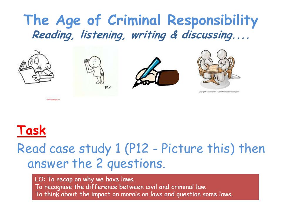 The Age of Criminal Responsibility Reading, listening, writing & discussing....