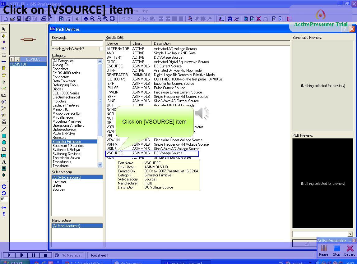 Click on [Simulator Primitives] item