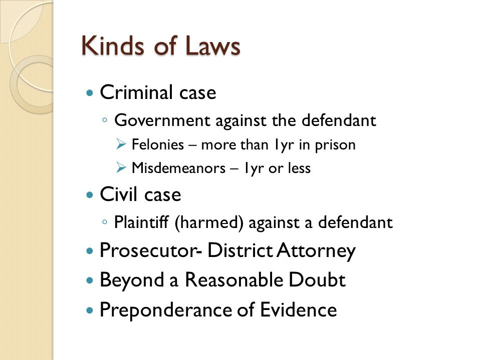 Kinds of Laws Criminal case Government against the defendant Felonies – more than 1yr in prison Misdemeanors – 1yr or less Civil case Plaintiff (harme