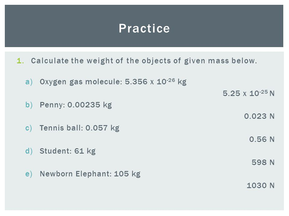 1.Calculate the weight of the objects of given mass below.