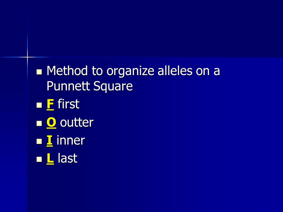 Method to organize alleles on a Punnett Square Method to organize alleles on a Punnett Square F first F first O outter O outter I inner I inner L last