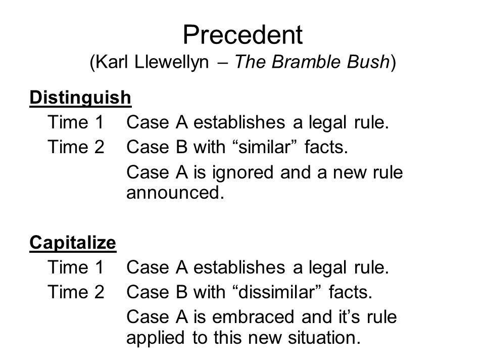 Precedent (Karl Llewellyn – The Bramble Bush) Distinguish Time 1Case A establishes a legal rule.