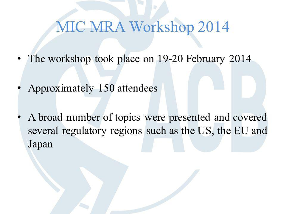 MIC MRA Workshop 2014 The workshop took place on 19-20 February 2014 Approximately 150 attendees A broad number of topics were presented and covered several regulatory regions such as the US, the EU and Japan