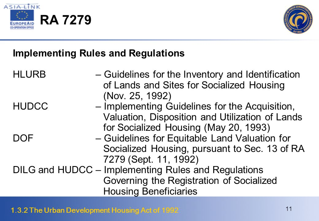1.3.2 The Urban Development Housing Act of 1992 12 RA 7279 Implementing Rules and Regulations HLURB– Guidelines on Balanced Housing (June 8, 1992) DOF– Providing Incentives to Government-Owned and Controlled Corporations and Local Govt.