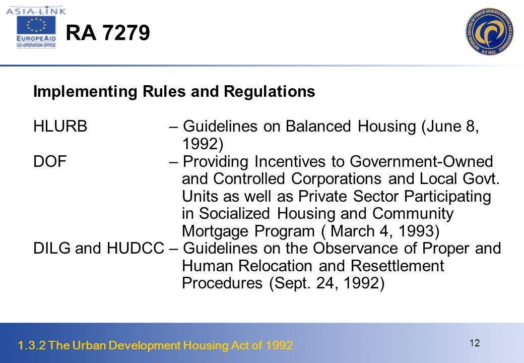 1.3.2 The Urban Development Housing Act of 1992 13 National Urban and Housing Development Framework, 1993 – 1998 The Vision Better quality of life for residents of cities/urban centers Cities/urban centers as economic hubs and major contributors to national productivity and industrialization Cities and urban communities are socially and environmentally healthy places Cities and urban communities as centers for productive and income generating activities Cities that house and deliver basic social services to its citizens, particularly the poor Cities/urban centers promote political democratization through greater people participation in decision-making Urban governments are capable and competent to address urban issues and concerns