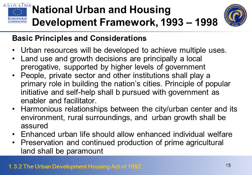 1.3.2 The Urban Development Housing Act of 1992 16 Implementing RA 7279 How was RA7279 Received.