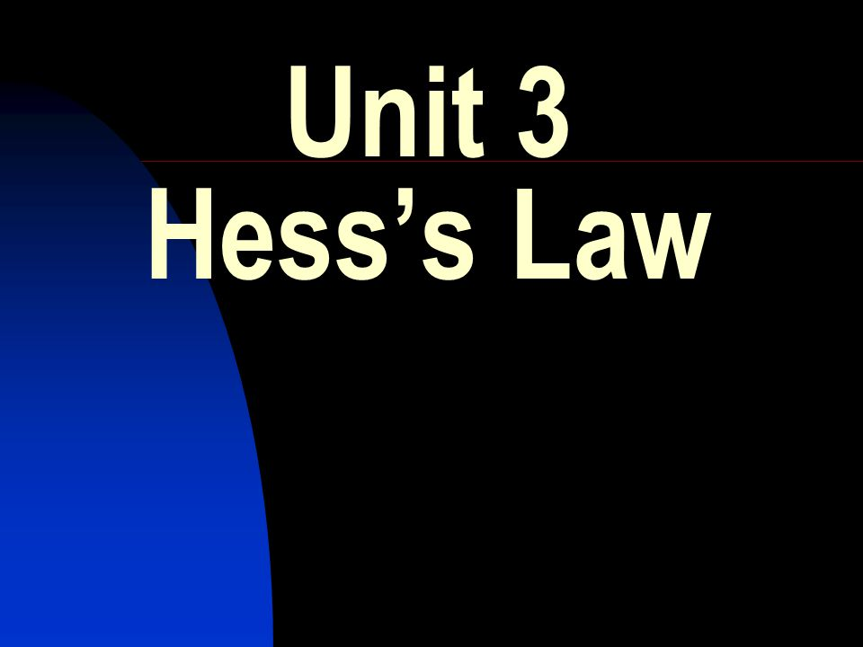 HIGHER CHEMISTRY REVISION.Unit 3 :- Hesss Law 1.