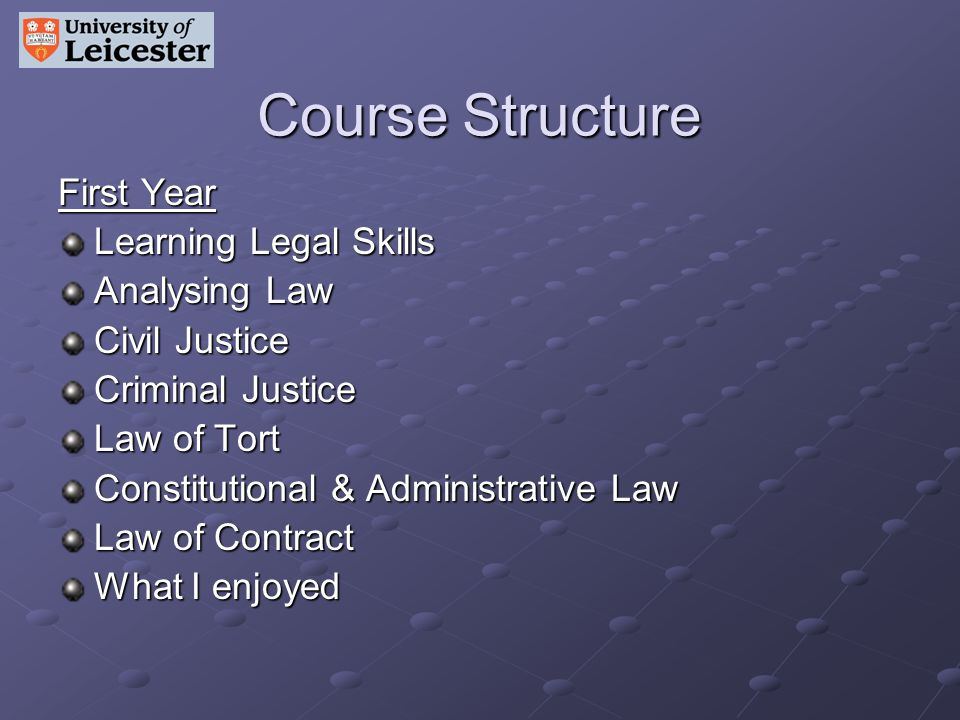 Course Structure First Year Learning Legal Skills Analysing Law Civil Justice Criminal Justice Law of Tort Constitutional & Administrative Law Law of