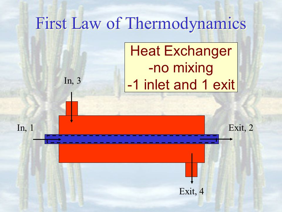 First Law of Thermodynamics Heat Exchanger -no mixing -1 inlet and 1 exit In, 1Exit, 2 In, 3 Exit, 4