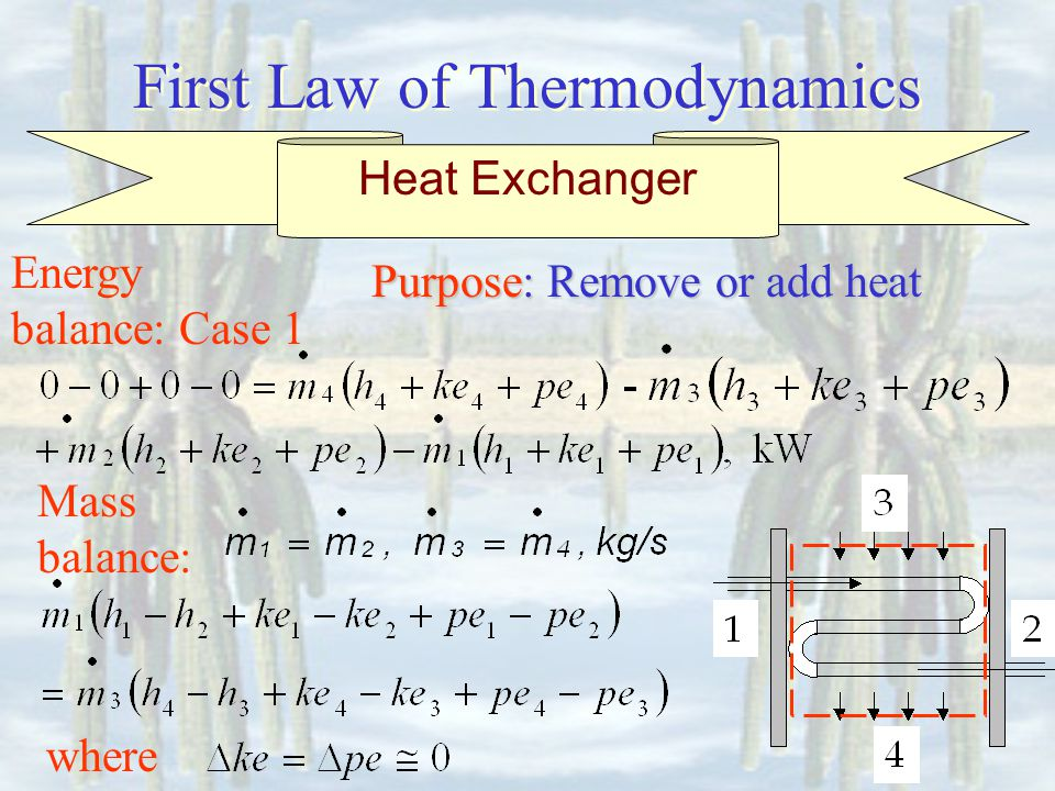 First Law of Thermodynamics Energy balance: Case 1 Mass balance: Heat Exchanger Purpose: Purpose: Remove or add heat where