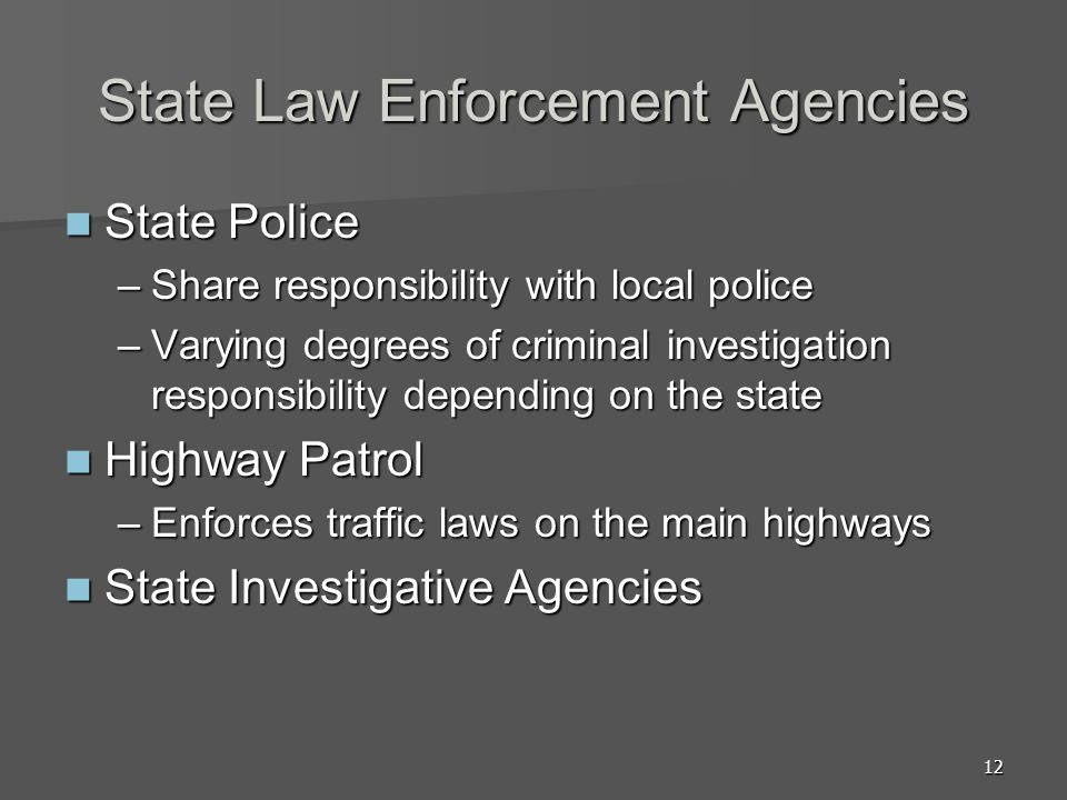 12 State Law Enforcement Agencies State Police State Police –Share responsibility with local police –Varying degrees of criminal investigation respons