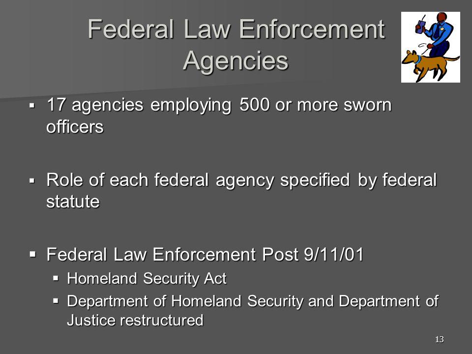 13 Federal Law Enforcement Agencies 17 agencies employing 500 or more sworn officers 17 agencies employing 500 or more sworn officers Role of each fed